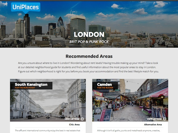 A screenshot of Uniplaces.com